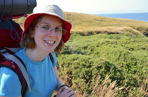 Rhiannan on the coast path